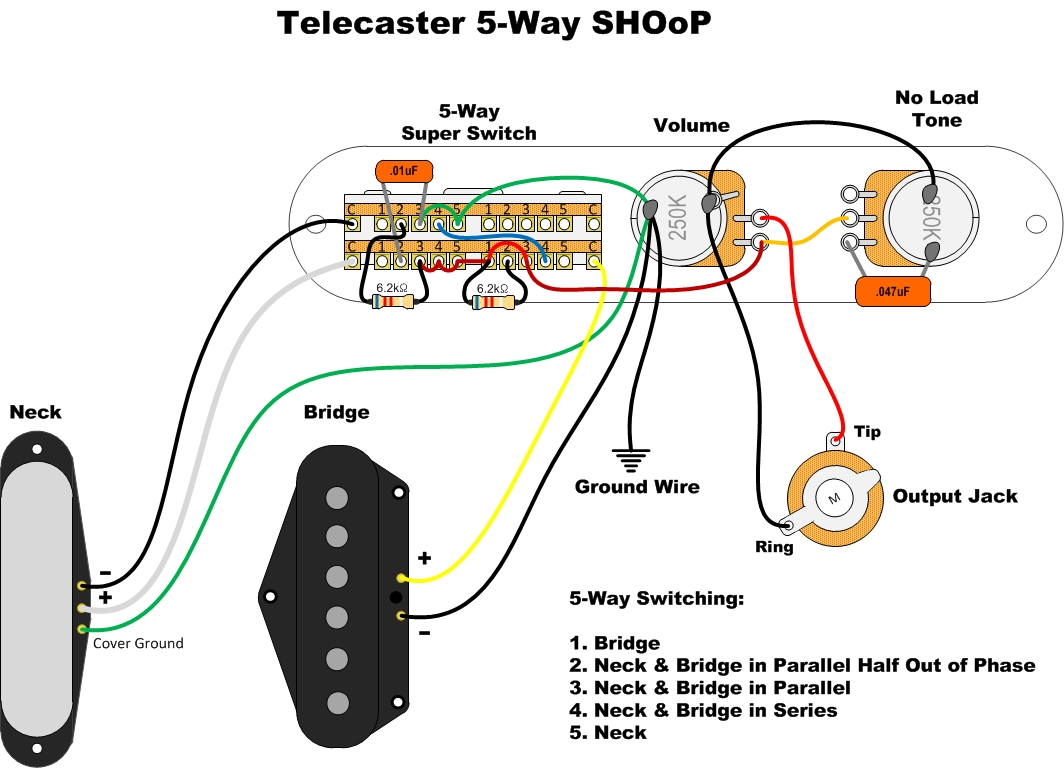 Wdu Hhh5l11 01 furthermore Dimarzio 5 Way Wiring Diagram also Analogman Big T Tele Neck Pickup 2 Ground Wires additionally 4 Way Tele Wiring Diagram also Pickup Selector Switch Connections 5. on fender 5 way super switch wiring diagram